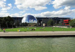 A view of the Géode and the canal de l'Ourcq