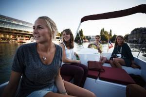 Girls on boat (model OPEN) on the Bassin de la Villette