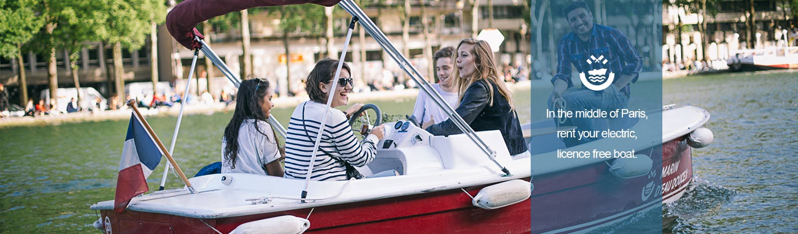 Friends sailing on electric, licence free boat