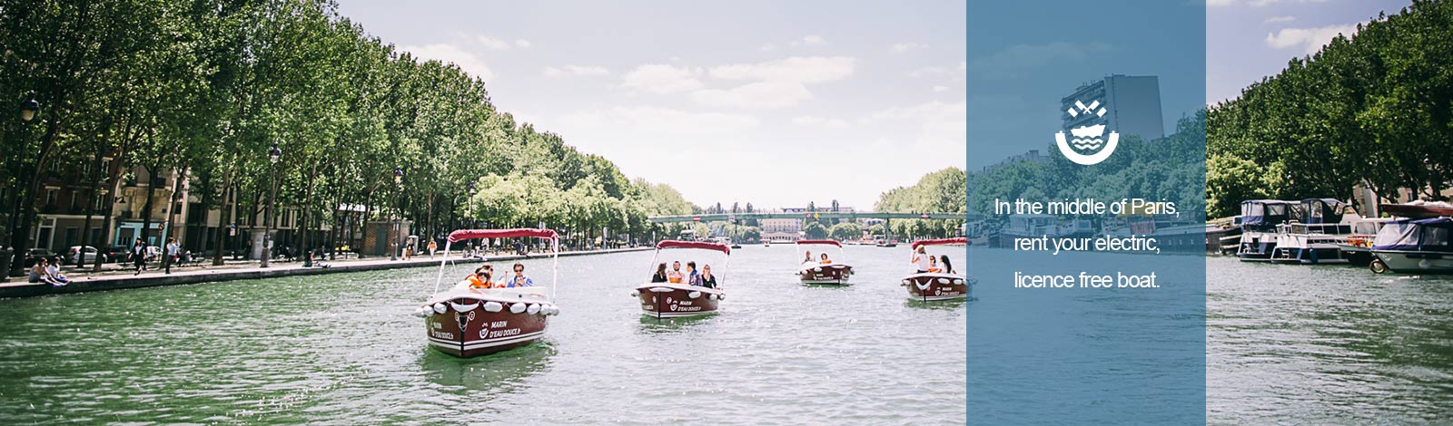 Rent an electric boat on the Canal de l'Ourcq