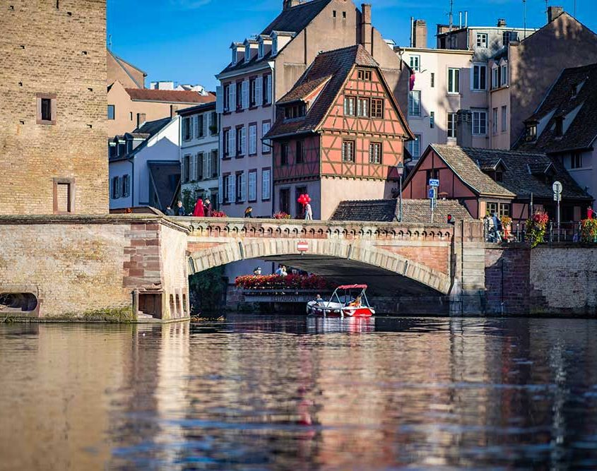 The center of Strasbourg with our electric boats