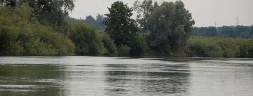 The Marne River by boat near Meaux