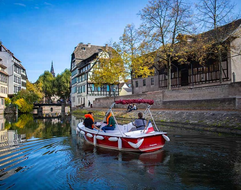 The Petite France in Strasbourg with our electric boats
